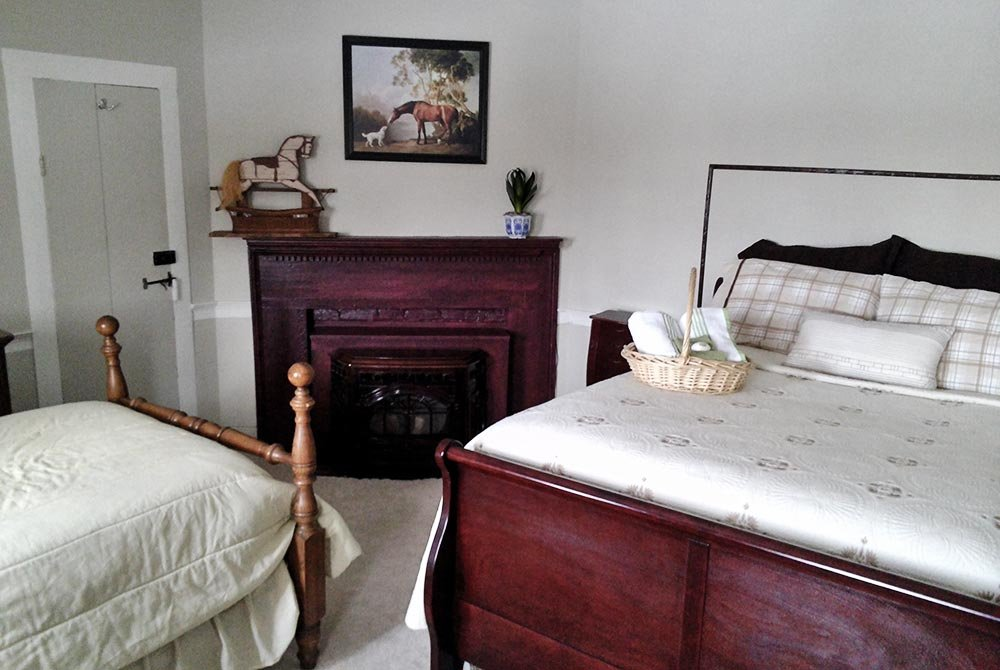 Queen and twin bed next to fireplace in bedroom