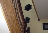 wooden stair railing