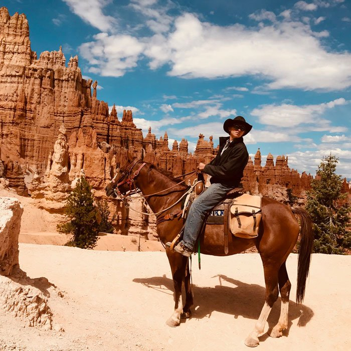 Rider on Horseback ay Bryce National Park, Utah