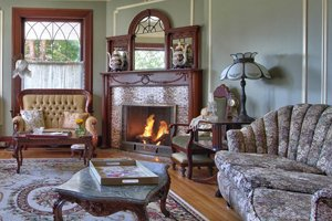 chouches and fireplace in living room