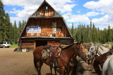Skyline Guest Ranch barn and hitching post with horses