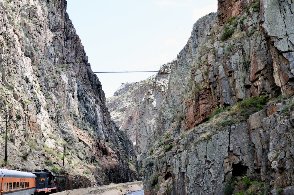 View of the Royal Gorge Bridge from the Train