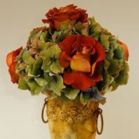 Hydrangea and Antique Roses Floral Arrangement