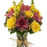 Pink Lilies and Yellow Snapdragons Floral Arrangement