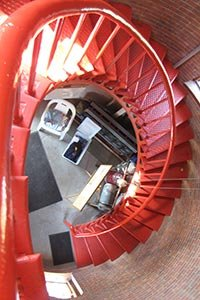 spiral staircase inside Race Point Lighthouse - Outer Cape Cod