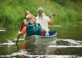 Canoeing on Lake Gregory Near The North Shore Inn near San Bernardino, CA