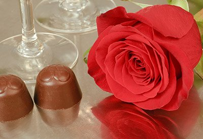 romantic chocolates and roses