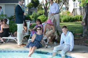 Black Walnut Point Weddings guests by the pool