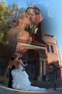Chapel of the Archangels exterior bride and groom kissing
