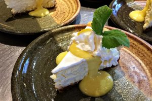Pie with mint and whipped cream