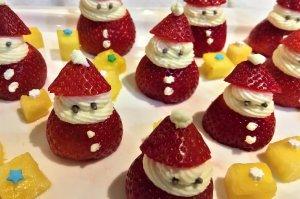 Strawberries made to look like Santa