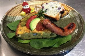 Breakfast cake with sausage and fruit bread and Santa strawberry