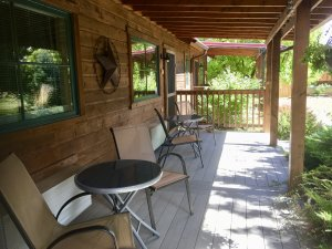 Canyons Bed and Breakfast Cowboy Room exterior deck outdoor table and chairs