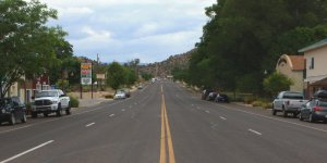 A small town main street