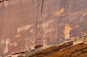 Petroglyphs of horned figures
