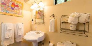 Bathroom sink and towel racks