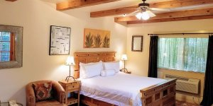 Bedroom with southwestern decor