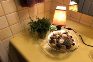 Bathroom with mini water feature