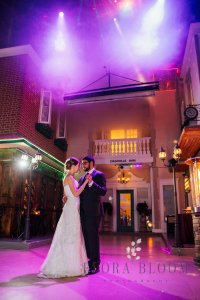 wedding dance under lights