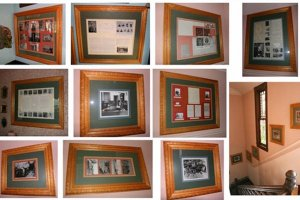 collage of framed newspaper articles and old photographs