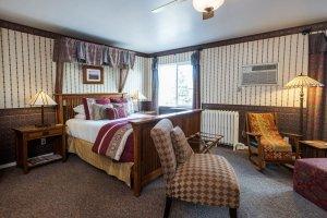 bed with wood craftsmen bedframe