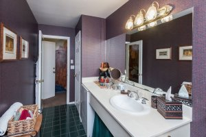bathroom sink with purple wallpaper