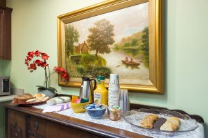 Breakfast bar beneath painting