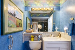 bathroom sink and blue textured walls