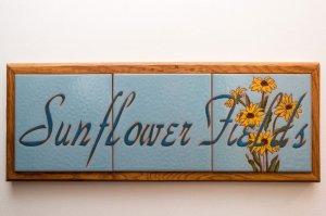 sunflower fields tile room sign