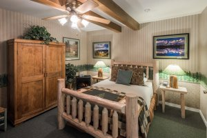 log bed and armoire