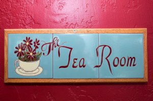 The Tea Room tile room sign