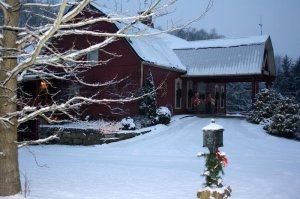 Snow covering the exterior Barn