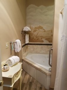 French Country's bathroom, with a one person jacuzzi and detached shower
