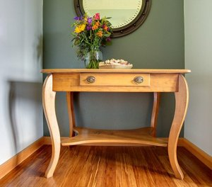 Bedside table with a bouquet of flowers