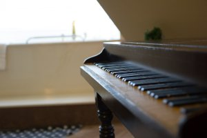 Hines Mansion Eagle's Nest Room detail shot of piano