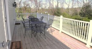 Deck with tables and chairs