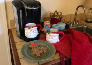 Coffee & Christmas cookies in kitchenette
