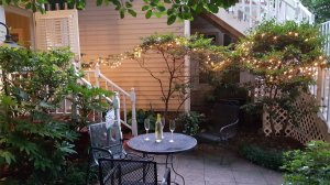 Night time patio at May's Garden Cottage