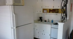 kitchen fridge and counters