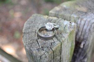 Wedding rings on a cut stump