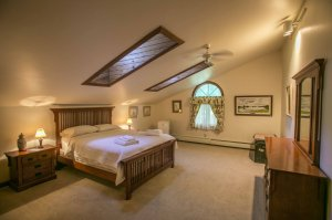 Bedroom with skylights and carpet