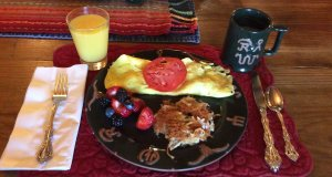Eggs, hash browns, and berries