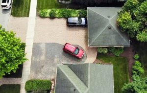 aerial view of private off-street parking