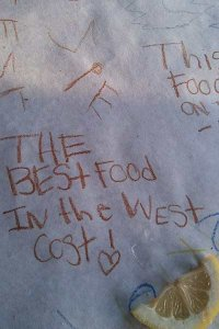 Customer note saying the best food in the west Coast