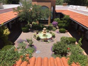 The bath patio and fountain