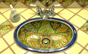 A decorated sink