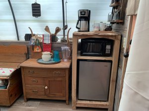 Fridge, microwave and coffee maker