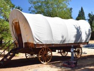 Covered wagon daytime shot