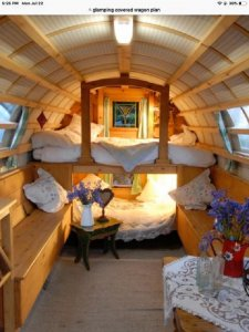 Interior of covered wagon