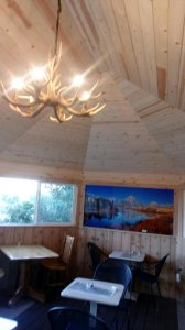 Antler chandalier in the new breakfast room